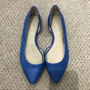Aldo Blue Leather Snake Embossed Point Toe Flats